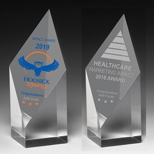 "Laser Engraved Acrylic Diamond Obelisk Award (5 3/4""x 2""x 2"")"