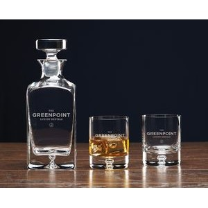 Deluxe Square Decanter Set. 3 piece