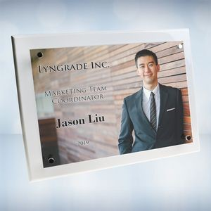 Color Imprinted Photo Floating Acrylic Whitewood Piano Finish Horizontal/Vertical Wall Plaque (S)