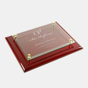 Rosewood Piano Finish Clear Glass Wall Plaque (Small)
