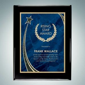 "Black Piano Finish Wall Plaque w/Blue Rising Star Plate (7""x9"")"