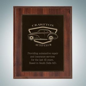 High Gloss Cherrywood Plaque - Black/Gold Leather Plate (Medium)